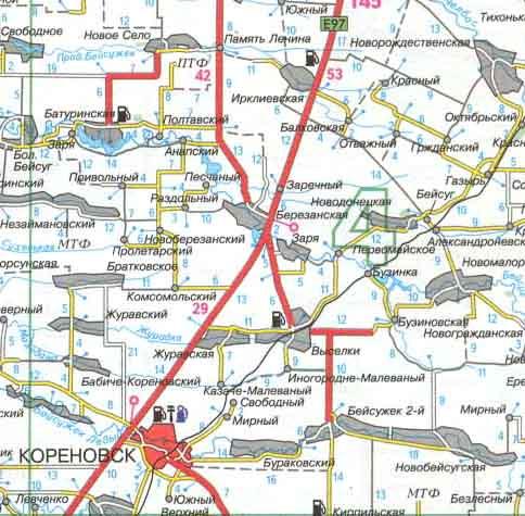 Карта дорог кореновск ирклиевская